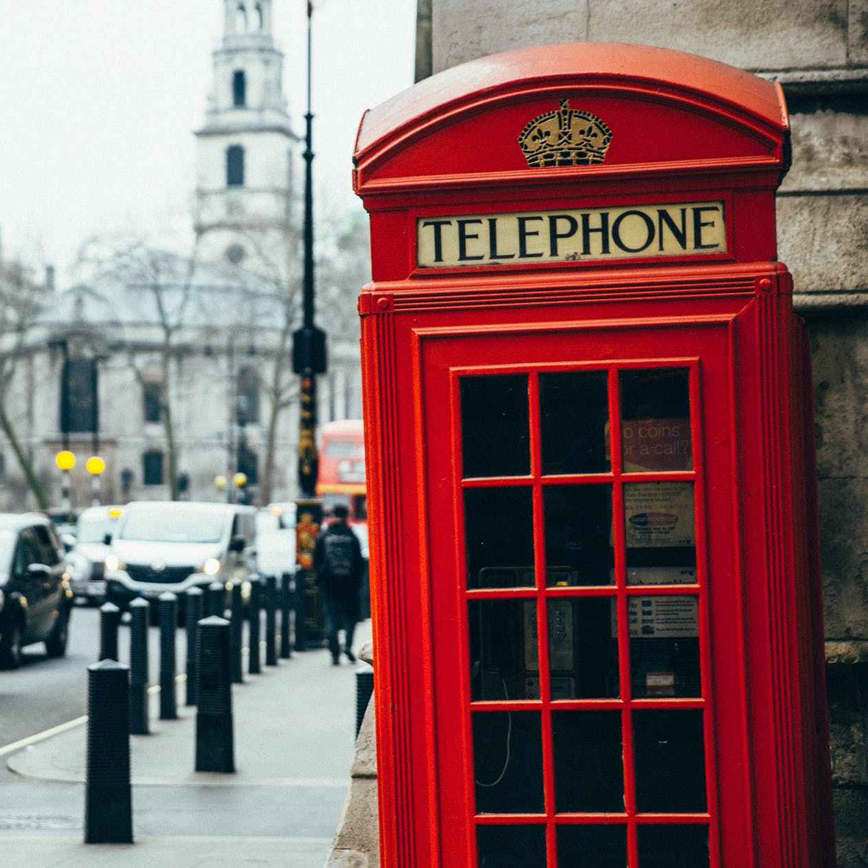 Red London Telephone box on a city street